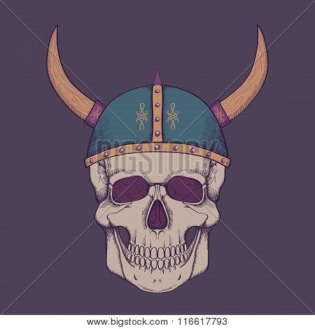 Vector Illustration With Human Skull Wearing Viking Helmet