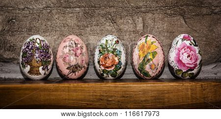 Colorful Easter Eggs Stacked On The Wooden Base, Easter Holiday