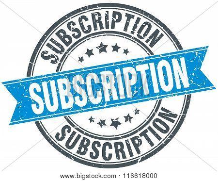 subscription blue round grunge vintage ribbon stamp