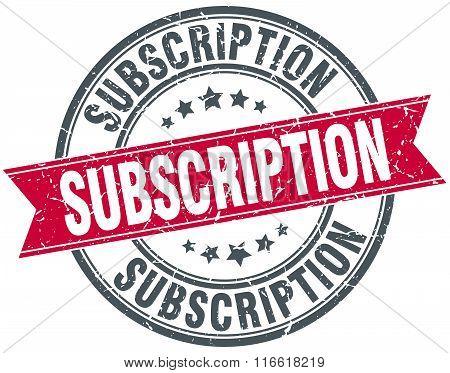 subscription red round grunge vintage ribbon stamp