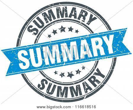 summary blue round grunge vintage ribbon stamp
