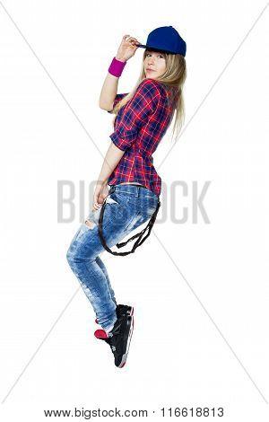 Beautiful Young Girl Dancing Hip Hop