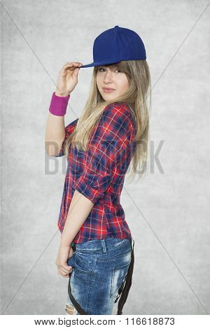 Young Woman Ready To Dance Hip Hop