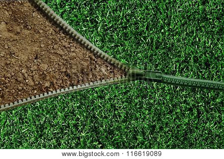 green zipper on green grass texture over brown mulberry paper texture empty blank for fill text background.