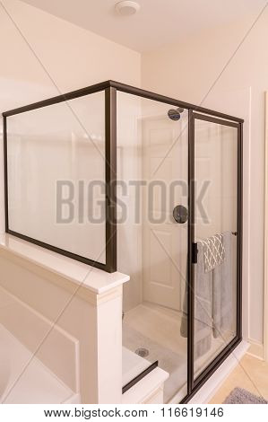 Clear Glass Shower In New Bathroom