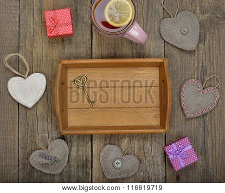 Empty Tray And Various Items