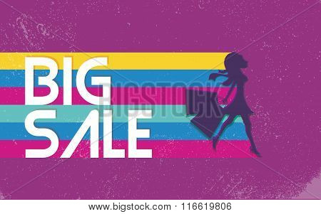 Big sale poster with woman shopping for fashion clothes. 80s vector background banner, bright vivid