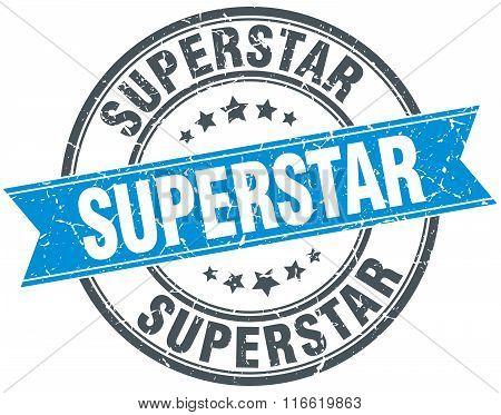 superstar blue round grunge vintage ribbon stamp