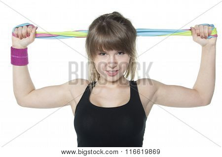 Woman Exercise With Elastic