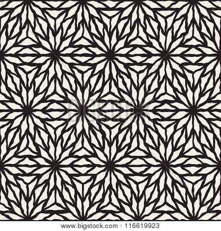 Vector Seamless Black And White Hand Painted Line Geometric Star Pattern