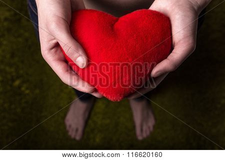 Valentine Heart In The Hands Of A Young Boy