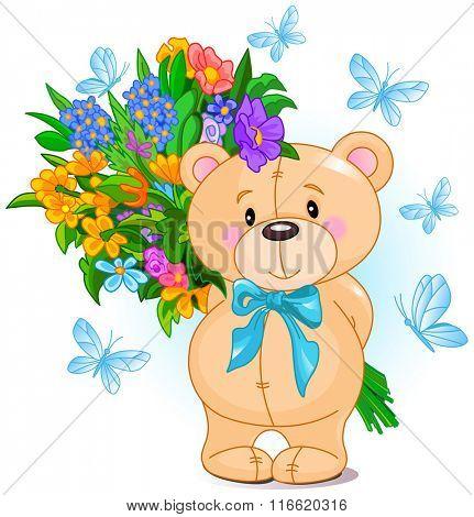 Cute little Teddy Bear holds a bouquet