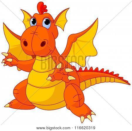 Illustration of cute cartoon baby dragon pointing