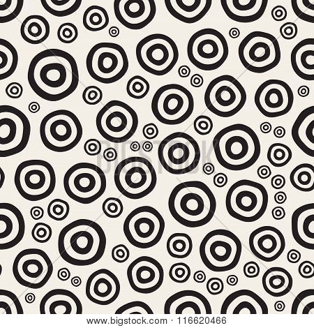 Vector Seamless Black And White Hand Painted Circular Rings Jumble Pattern