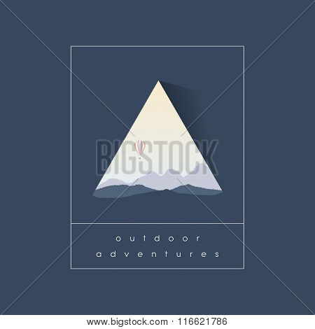 Outdoor adventure symbol with mountains landscape silhouette and hot air balloon flying above.