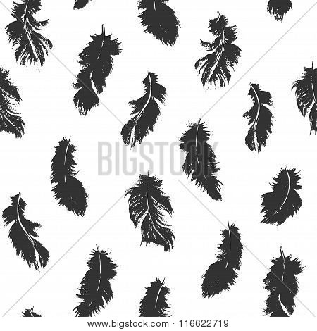 Black Feather Seamless Pattern