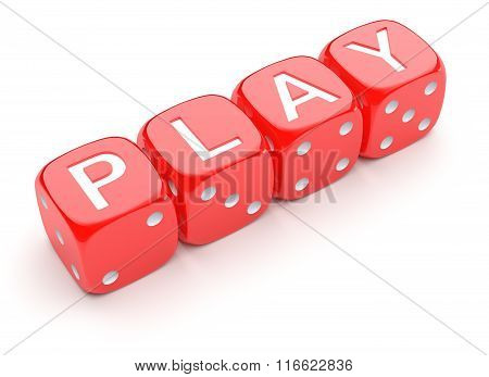 Red dice with word PLAY on white background