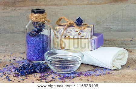 Aroma Salt , Lavender Flowers, Handmade Soap