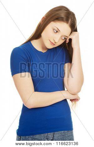 Beautiful worried teenage woman.