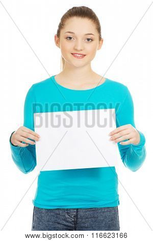 Happy woman with blank board.