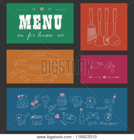 Menu for lovers. Foods with hearts. Happy Valentines day. Doodle Decor elements. Hand drawn. Colored