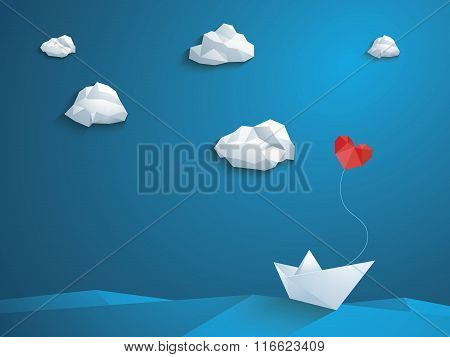 Valentine's day card design template. Low poly paper boat with heart shaped balloon sailing over the