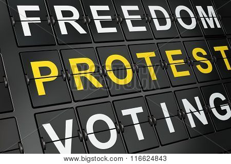 Politics concept: Protest on airport board background