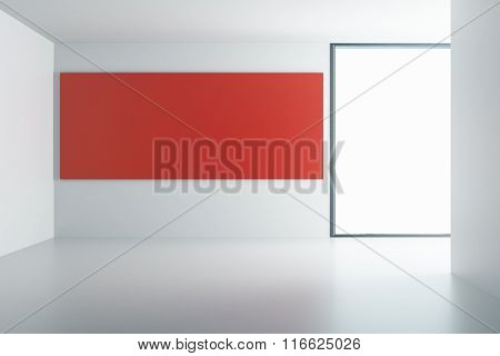 Red Poster On White Wall In Empty Room