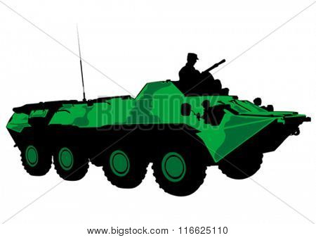 Armored car with gun on white background