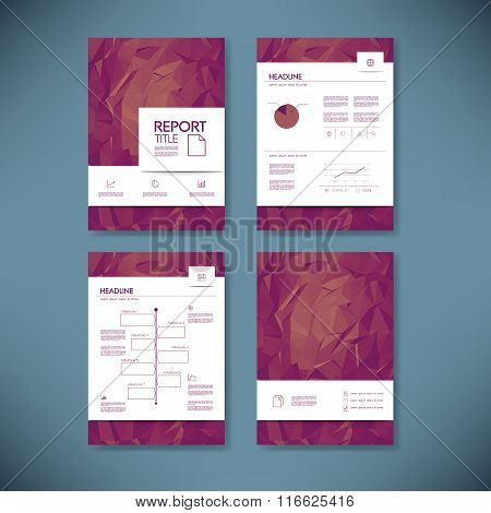 Business report template with low poly background. Project management brochure document layout for c
