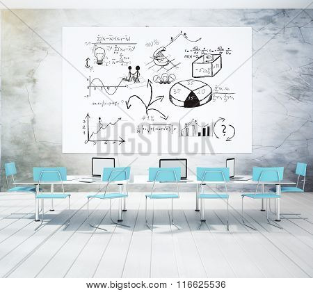 Business Scheme On White Poser In Conference Room With Blue Chairs And Concrete Wall