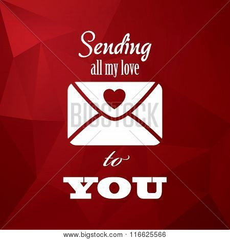 Vintage valentine's day card concept design with envelope, typography message and hearts on red low