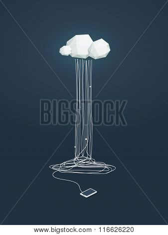 Cloud computing concept illustration with low poly clouds and smartphone connected. Data storage inf