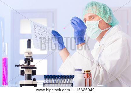 Scientist analizing DNA sequence