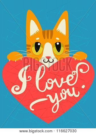 Enamored cat with heart and text I Love You.