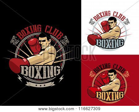 Boxing Club Logo Set. Boxing Emblem, Label, Badge, T-Shirt Design. Boxing Club T Shirt. Fight Brutal Theme. T Shirt Hoodie. Boxing Club Training. Boxing Club For Man. Boxing Club Fights.