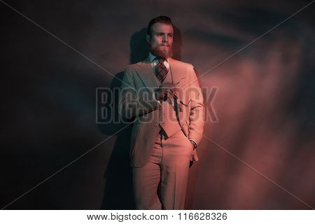Handsome Sexy Bearded Man In A Stylish Suit