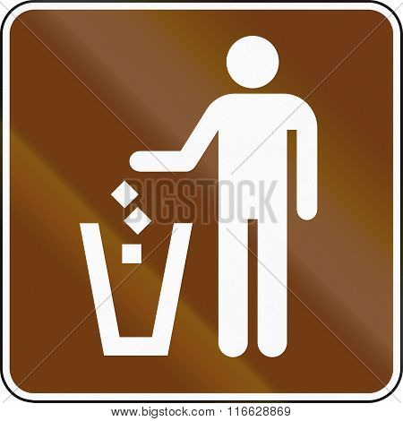 United States Mutcd Guide Road Sign - Garbage Bin