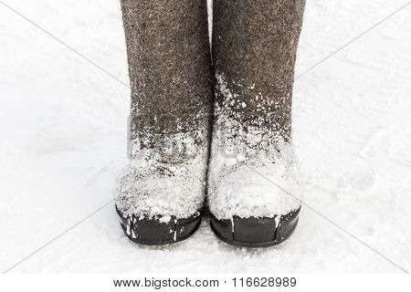 Winter Felt Boots In The Snow