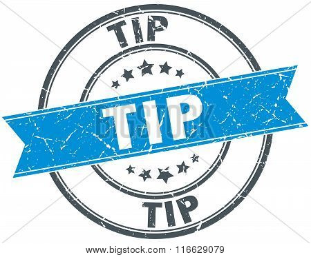 Tip Blue Round Grunge Vintage Ribbon Stamp