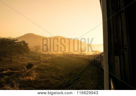 Look Out The Window Train In Morning Sunlight