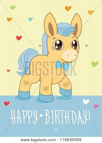 Greeting Card. Cute Boy. Cartoon Animals Vector. Lovely Horse Pony. Cartoon Animal Vector. Greeting Card. Pony Advert. Pony Art. Pony Boy. Beautiful Pony. Fairy Tale.