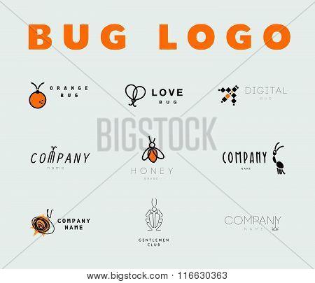 Vector flat bug logo collection.