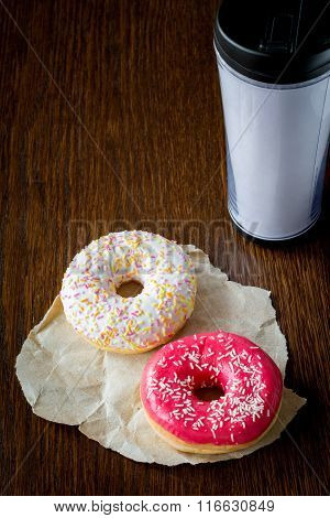 Donuts and coffee, breakfast