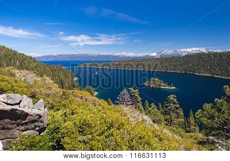 Emerald Bay At Lake Tahoe With Background Of Snow Mountains, Cal