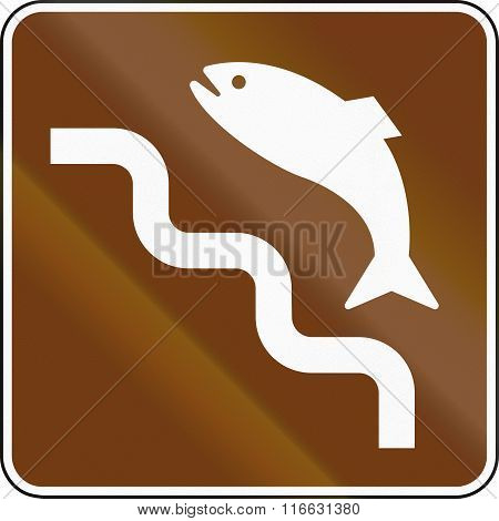 United States Mutcd Guide Road Sign - Spawning Run Of Salmon