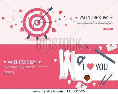 Vector illustration. Flat background with target and paper. Love, hearts. Valentines day. Be my vale