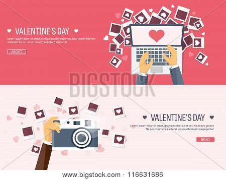 Vector illustration. Flat background with photos. Love, hearts. Valentines day. Be my valentine. 14