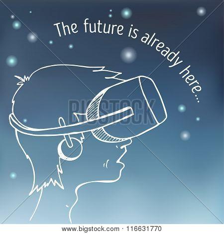 Boy wearing a virtual reality headset