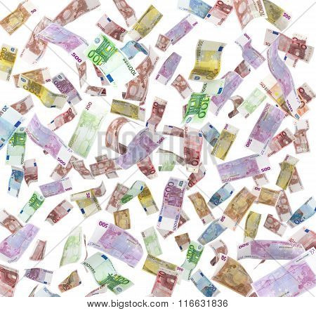 Euro Banknotes Flying In The Air Isolated On White Background